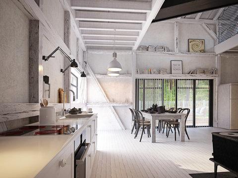 country kitchen interior.