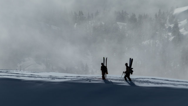 Skiers take a break in the winter mountains