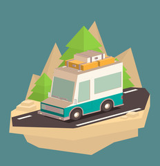 Vector illustration of a retro travel van isometric