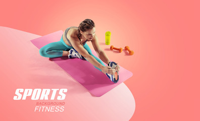 Sport and fitness backgrounds. Stretching. Isolated.