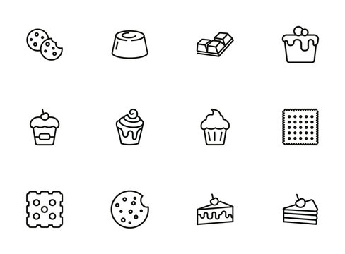 Cakes and cookies line icon set. Muffin, cupcake, slice. Dessert concept. Can be used for topics like pastry, bakery, menu