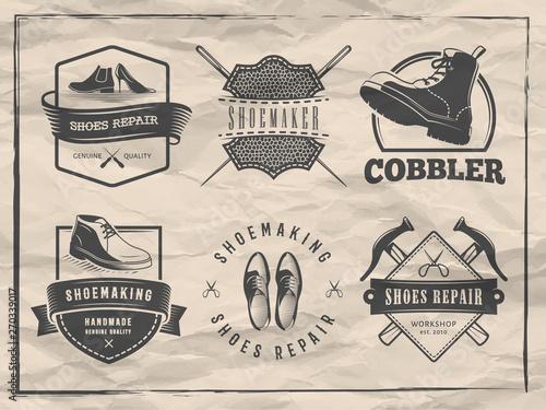 Shoemaker logos  Vector badges for shoe repair or cobbler shop