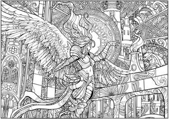 Coloring page for adults lovely angel woman on the background of a huge castle, painted with many small details