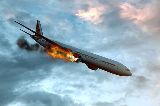 Commercial airplane with engine on fire, concept of aerial disaster. 3D illustration