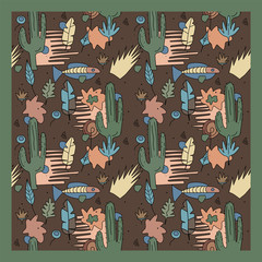 Seamless pattern with cactus, fish and leaves. Wild desert. Cartoon childish style. Ethnic ornament.