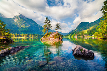 Magnificent summer scene of Hintersee lake. Colorful morning view of Austrian Alps, Salzburg-Umgebung district, Austria, Europe. Beauty of nature concept background.
