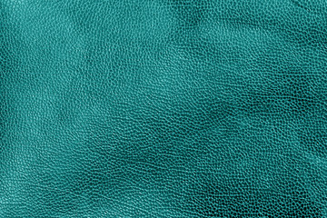 Weathered leather texture in cyan tone. Wall mural