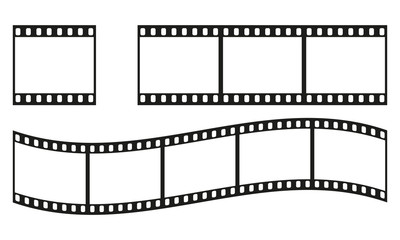 Film strip frame or border set. Photo, cinema or movie negative. Vector illustration.