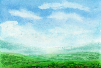 Summer watercolor landscape. Spring watercolor landscape with mountains, blue sky, clouds, green glade fields and meadows . Hand drawn nature european background. Painting countryside illustration