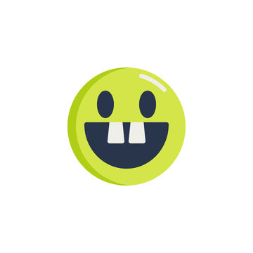 Toothless face emoji flat icon, Happy smiley with two teeth vector sign, colorful pictogram isolated on white. Symbol, logo illustration. Flat style design