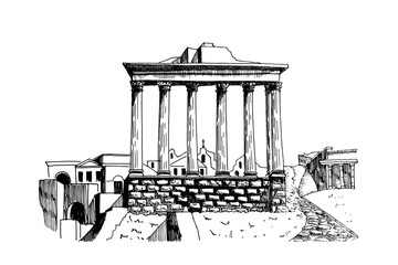 Wall Mural - vector sketch of Ancient ruins of a Roman Forum or Foro Romano, Rome, Italy.