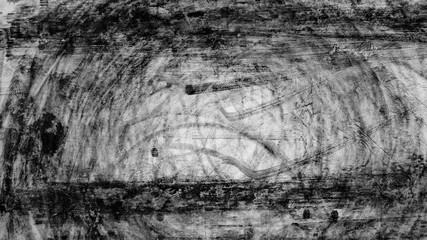 Aerial view background with tire marks on race track, texture of tire marks.