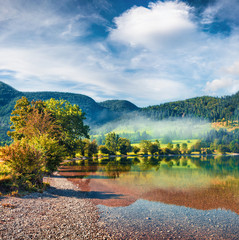 Wall Mural - Bright summer view of Bohinj lake. Picturesque morning scene of Triglav National Park, Slovenia, Julian Alps, Europe. Beauty of nature concept background.