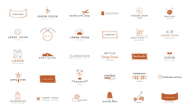 Hand drawn colored isolated elements. Vector set of handmade logo templates.