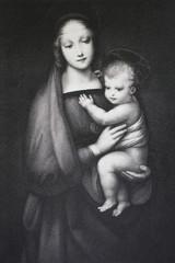 The Madonna del Granduca by Raphael Sanzio in a vintage book Rafael's Madonnen, by A. Gutbier, 1881, Dresden.