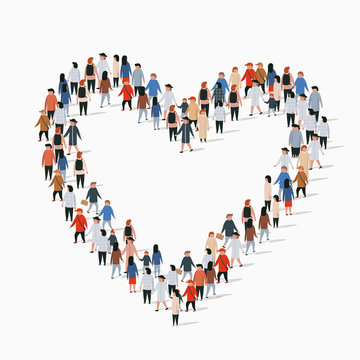 Large group of people in the heart sign shape.