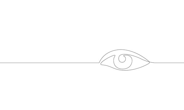Single continuous one line art female watch eye. Beauty salon woman girl sight concept design sketch outline drawing vector illustration