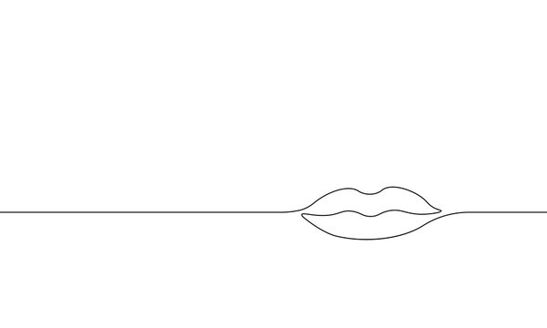 Single continuous one line art female lips. Beauty salon woman girl smile concept design sketch outline drawing vector illustration