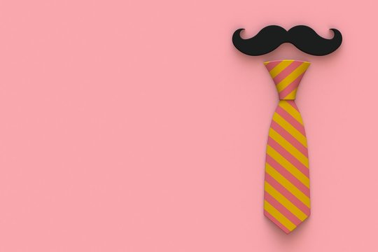 Happy Father's Day concept with mustache and neck tie on pink background, Top view with copy space, 3d rendering