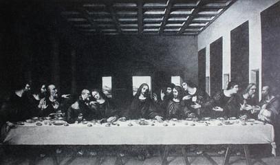 The Last Supper by Leonardo Da Vinci in a vintage book Leonard de Vinci, author A. Rosenberg, 1898, Leipzig