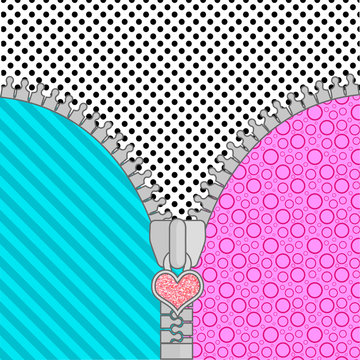 Cute lol doll surprise background with open zipper . Birthday congratulation or invitation fashion girls party. vector