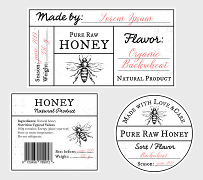 Set of vector card templates with honey bee - lid, front and back labels.