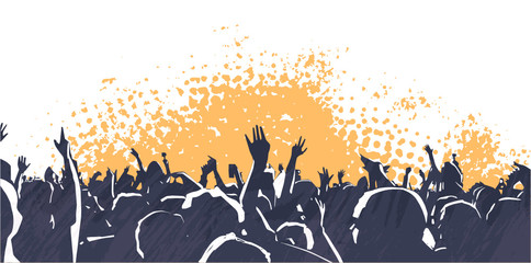 Illustration of large crowd of young people at live music event party festival Wall mural
