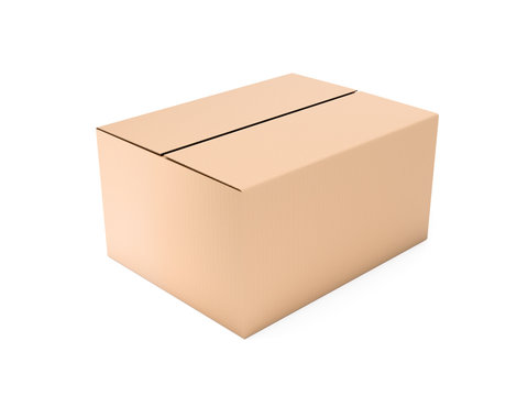 Closed brown corrugated carton box. Big shipping packaging. 3d rendering illustration isolated