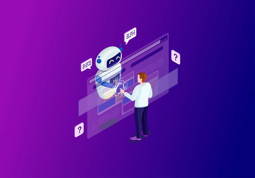 Chatbot isometric color vector illustration