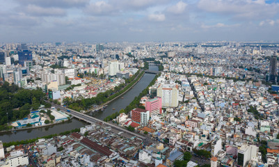 Landscape at Ho Chi Minh city on morning at Viet nam  by drone