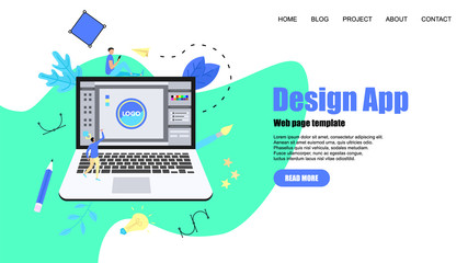 Webpage Template. Flat vector graphic design concept with an open design application with a creative project