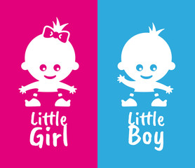 Vector simple pictures of babies small baby girl and baby boy