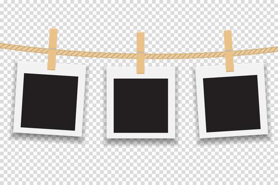 Blank photo frame hanging on line or rope. Vector illustration