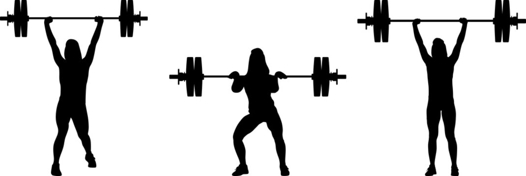 girl in three different poses weight lifting. girl raises weights