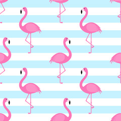 Tuinposter Flamingo Summer seamless pattern with pink flamingo on striped background. Vector illustration