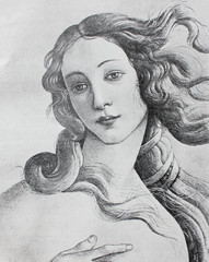 Venus (detail) by Sandro Botticelli in the vintage book The Florence, the painting gallery, by E. Dolgova, 1904