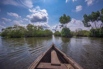 Foto op Aluminium Meer / Vijver Clouds and sky in Munroe Island, Ideal place for canoe trip through backwater canals