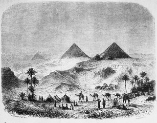 Pyramids in the vintage book Histoire de L'Art by C. Bayet, 1886