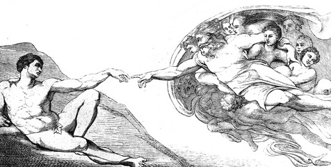 The creation of Adam by Michelangelo in the vintage book the History of Arts by Gnedych P.P., 1885