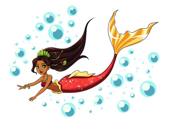 Cute swimming mermaid vector design. Cartoon girl with brown hair and red fishtail.