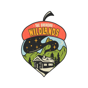 Camping badge acorn illustration design. Outdoor logo with quote - The unknown wildlands, for t shirt, posters. Included retro mountains, woods house. Unusual hipster style patch. Stock vector emblem