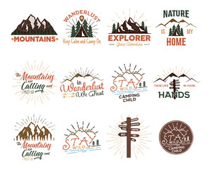 Travel badges set. VIntage hand drawn camping logos. Mountain expedition logo designs. Outdoor hike emblems, t-shirtsm prints. Camp phrases and sayings. Stock patches isolated on white.