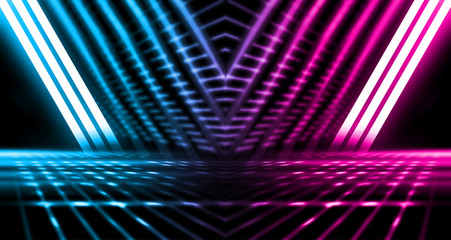 Background of empty stage show. Neon blue and purple light and laser show. Laser futuristic shapes...