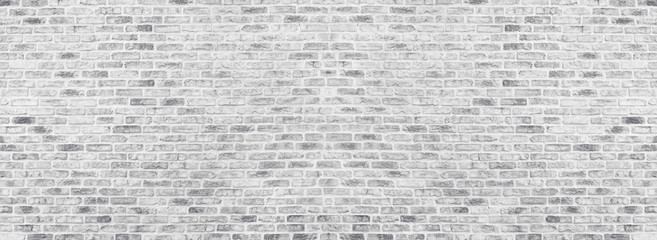 Printed roller blinds Brick wall Wide white washed brick wall texture. Rough light gray brickwork. Whitewashed panoramic vintage background