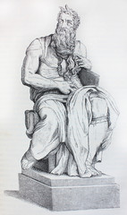 Moses by Michelangelo in the vintage book Raphael by S.M. Bryliant, St. Petersburg, 1891