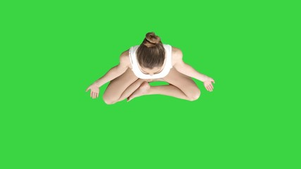 8b44fc62272aa 0:12 Beautiful woman sitting without yoga mat in lotus pose on a Green  Screen, Chroma Key