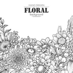 Floral backgrounds with hand drawn spring flowers and plants.