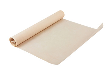 One new unfolded roll of clean baking paper brown color isolated on white background