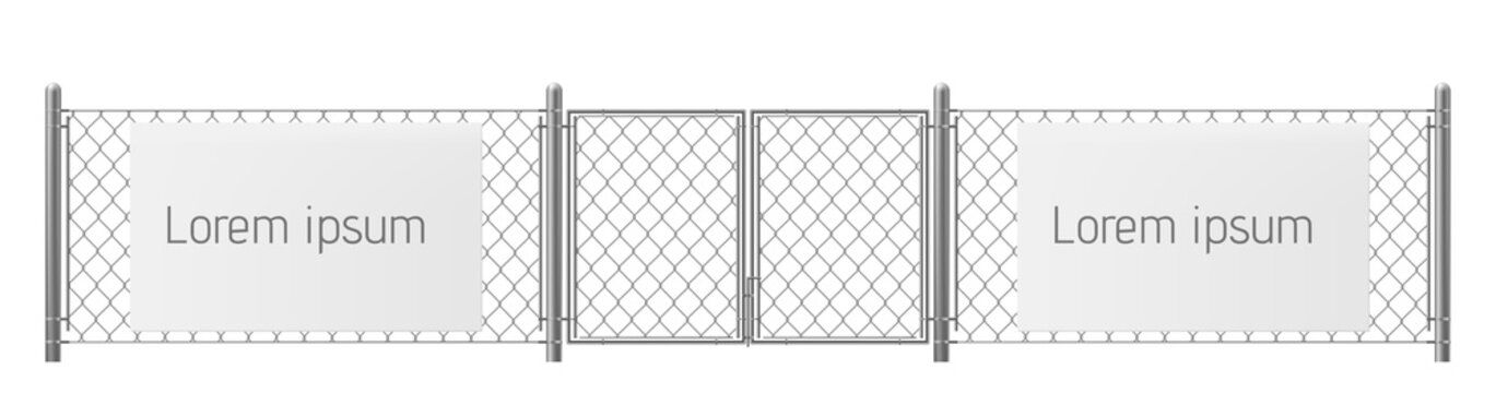 Free space, good place for visual outdoor advertisement realistic vector. White, blank ad banner or billboard on chain-link fence with metallic pillars and gate illustration. Security warning template