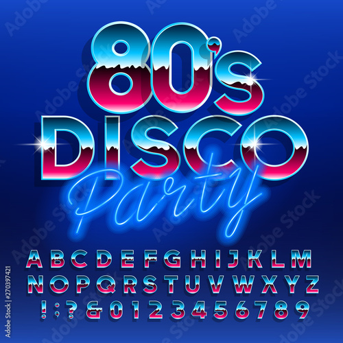 80's Disco typeface  Letters and numbers  Stock vector